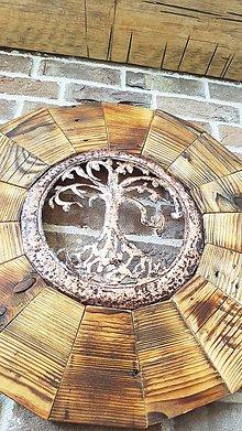 Dekorácie - Medený strom v drevenom kruhu - 8600300_
