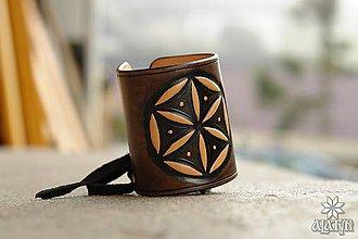 Náramky - Kožený náramok - nátepník Svarga (Perúnova hviezda) - 8600443_