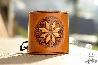 Náramky - Kožený náramok - nátepník Hviezda Alatyr - 8600487_