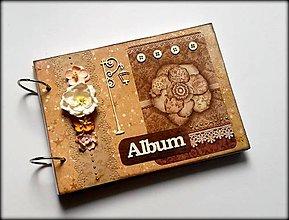Papiernictvo - Vintage svadobný/ romantický scrapbook album A5 - 8599691_