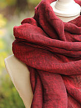 Šatky - Dámska elegantná ľanová šatka tmavočervenej farby s koženým remienkom - 8601741_
