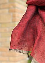 Šatky - Dámska elegantná ľanová šatka tmavočervenej farby s koženým remienkom - 8601746_