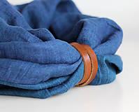 Doplnky - Ľanový obojstranný modrý nákrčník s koženým remienkom - 8602004_