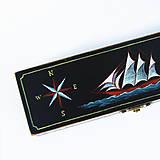 Taštičky - Puzdro s plachetnicou (ručne maľované) - 8599777_