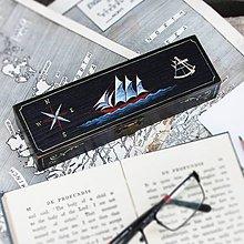 Taštičky - Puzdro s plachetnicou (ručne maľované) - 8599868_
