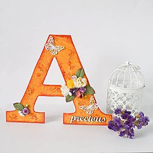 Dekorácie - Oranžové A - ozdobné písmeno / iniciály krstného mena / priezviska rodiny - 8599893_