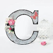 Dekorácie - Ozdobné iniciály C - čierno-ružové s kvetinami - 8600005_