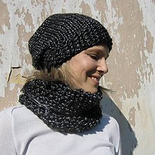 Čiapky - leSklý, čieRny eLegantný set - 8602007_