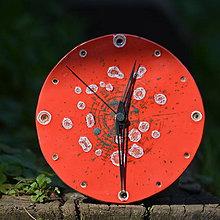 Hodiny - Keramické hodiny Kruh střední - Ohnivý rej - 8602301_