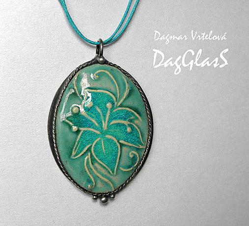 cínový šperk s keramikou ...Ľalia...