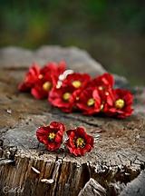 Červené maky najmenšie - kvetinové náušnice