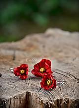 Náušnice - Červené maky najmenšie - kvetinové náušnice - 8599658_