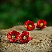 Náušnice - Červené maky - visiace náušnice strieborné háčiky - 8599739_