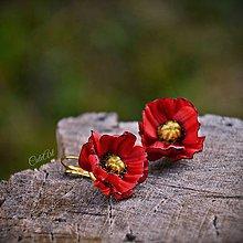 Náušnice - Červené maky malé - visiace náušnice - 8599776_
