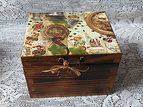 Iné - Krabička s vintage pánským motivem malá - 8599610_