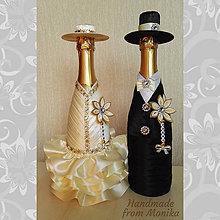 Dekorácie - Návleky na fľaše k výročiu svadby s menom - 8602746_