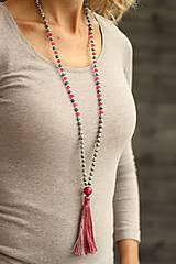 Náhrdelníky - Mala náhrdelník z minerálov a strapcom - 8602145_