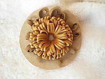 Odznaky/Brošne - Brošňa kožená, kvet púštny - 8599507_