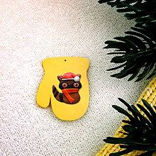Dekorácie - Zvieracie vianočné ozdoby (rukavica - mýval) - 8600949_