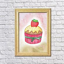 Grafika - Jahodový koláčik v hmle - 8601427_