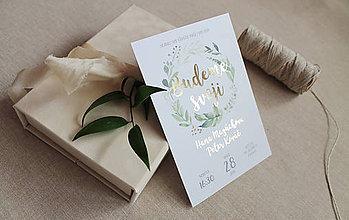 Papiernictvo - Svadobné oznámenie Green&Gold - 8605561_