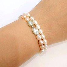 Náramky - Freshwater Ivory & Color Pearls Bracelets / Sada dvoch náramkov zo sladkovodných perál /0489 - 8604386_