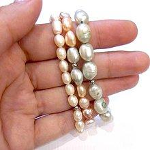 Náramky - Freshwater Ivory, Green & Color Pearls Bracelets / Sada 3 náramkov zo sladkovodných perál /0489 - 8604676_