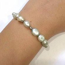 Náramky - Light Green Freshwater Pearls Bracelet / Elastický náramok so svetlozelenými sladkovodnými perlami /0489 - 8604950_
