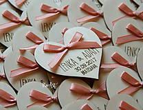 Darčeky pre svadobčanov - Svadobné magnetky srdiečko s mašličkou staroružovou - 8605984_