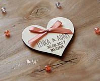 Darčeky pre svadobčanov - Svadobné magnetky srdiečko s mašličkou staroružovou - 8605989_