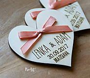 Darčeky pre svadobčanov - Svadobné magnetky srdiečko s mašličkou staroružovou - 8605990_