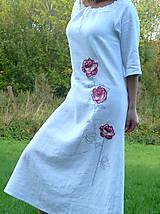 Šaty - Ľanové šaty Červené ruže - 8605321_