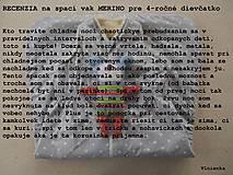 Textil - Spací vak pre bábätko ZIMNÝ 100% MERINO 0-6 mesiacov/ zavinovačka/ perinka - 8604411_