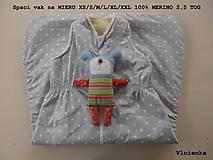 Textil - Spací vak pre deti a bábätká ZIMNÝ 100% MERINO na mieru Hviezdička sivá - 8604418_