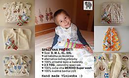 Textil - Ovčie rúno Detský spací vak na zimu 100% MERINO TOP super wash BODKA béžová - 8604431_