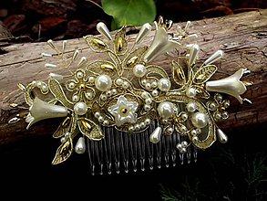 Ozdoby do vlasov - hrebeň - zlatá čipka + Ivory - 8603873_