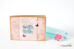 """Papiernictvo - Pohľadnica """"with love"""" s trochou vintage patiny a metalických efektov - 8604728_"""