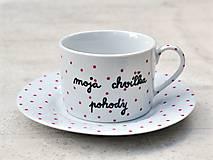 Nádoby - Maľovaná šálka s podšálkou na kávu - 8605575_