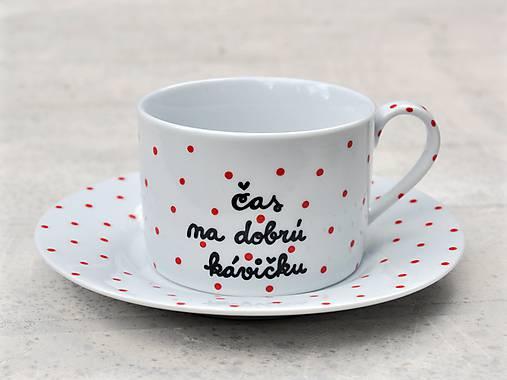 Nádoby - Maľovaná šálka s podšálkou na kávu s nápisom - 8605456_