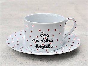 Nádoby - Maľovaná šálka s podšálkou na kávu - 8605456_