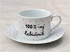 Nádoby - Maľovaná šálka s podšálkou na kávu (100%-ný labužník (200 ml)) - 8605493_