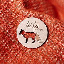 Odznaky/Brošne - líška - brošňa s výrezom - 8606643_