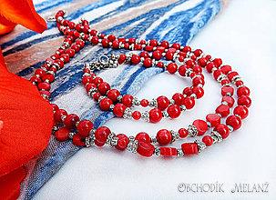 Sady šperkov - Sada šperkov. Nádherné dvojradový náhrdelník a dvojradový náramok z červeného koralu. - 8606899_
