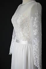 Šaty - Svadobné šaty s vyšívaným tylovým živôtikom a dlhým rukávom - 8603799_