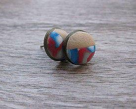 Náušnice - Napichovačky fimo rôzny vzor (Duo farebné napichovačky 13mm, č.1295) - 8604273_