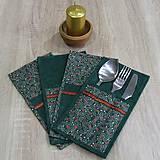 - Zelená batika a červeno zlaté hviezdičky - obal na príbor 13 - 8604806_