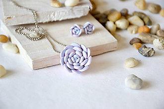 Sady šperkov - sukulent, sada, napichovacie náušnice, náhrdelník, fimo - 8605151_