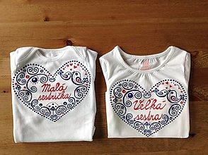 """Detské oblečenie - Folkové maľované tričko (S nápisom  """"malá sestra"""" / """"veľká sestra"""" (body + tričko)) - 8606910_"""
