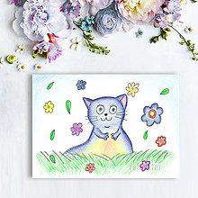 Kresby - Mačička (kvietková 2) - 8605198_