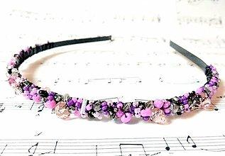 Ozdoby do vlasov - Violet-Black Beads Headband / Fialovo-čierna korálková čelenka /0488 - 8607359_